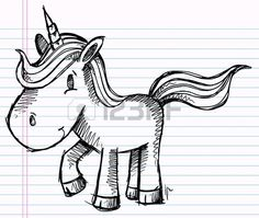 Doodle Sketch Unicorn Kunst