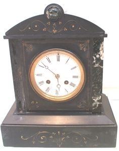 Japy Freres Marble/Slate Striking Mantle Clock c19th GWO 11.5 H 10 W 6 D
