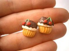 Food earrings/Cupcake earrings/Polymer clay food/Food jewelry/Miniature food