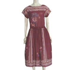 1970s Translucent Vintage Border Print Secretary Dress  Strait Lane #StraitLane