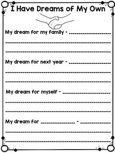 booklet and writing activities. Martin Luther King Day, Martin Lither King, First Grade Writing, Writing Activities, Counseling Activities, Writing Prompts, Writing Lessons, School Holidays, King Jr