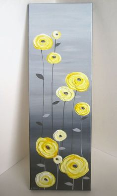 Yellow And Gray Textured Tree Art Diptych Set Of Two Custom Painted Modern Acrylic Painting Yellow And Grey Textured Flower Art Original Acrylic Painting On Canvas Size Depth 3 4 Color Yellows Range From A Light Buttery