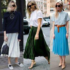 WEBSTA @ santteestilo - #SantteTrend Leve e estilosa, a saia plissada é uma ótima escolha para começar a semana, não? Deixe o seu look mais fresh com esse modelo de saia e abuse muito das cores fortes, como o verde, e do metálico. Veja mais inspirações incríveis de street style, com muitas dicas, lá em nosso site (link na bio👆)!⠀#SantteTrend Light and stylish, the pleated skirt is a great choice to start the week, right? Let your look more fresh with this skirt model and abuse of strong…