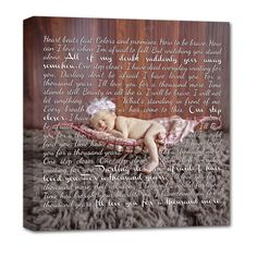 Newborn photo on canvas with lullaby lyrics or poem .personalized wall art by Geezees (gotta figure out how to do this! Personalised Canvas, Personalized Wall Art, Personalized Baby Gifts, A Thousand Years, Nursery Canvas, Nursery Art, Father Photo, Baby Wall Art, Canvas Quotes