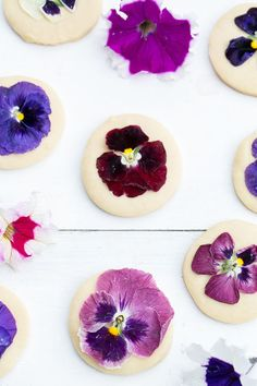 These sweet shortbread cookies with edible flowers are almost too adorable to eat. Almost.