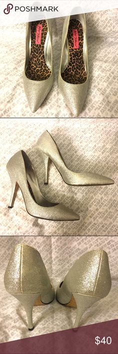 Betsey Johnson silver glitter pumps Worn once for 3 hours for my birthday. Super comfy! Anything else please feel free to ask. :) Betsey Johnson Shoes Heels