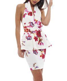 Loving this Cream & Red Floral Peplum Halter Dress - Women on #zulily! #zulilyfinds