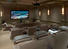 home theater rooms \ home theater ideas ; home theater rooms ; home theater design ; home theater ; home theater seating ; home theater ideas on a budget ; home theater ideas basement ; home theater decor Home Theater Basement, Movie Theater Rooms, Home Cinema Room, Home Theater Decor, Home Theater Speakers, Home Theater Seating, Home Theater Design, Home Design, Home Decor