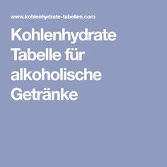 Kohlenhydrate Tabelle für alkoholische Getränke