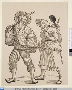 Der Koch als Landsknecht und seine Frau   Erhard Schön,  PURL http://kk.haum-bs.de/?id=e-schoen-ab3-0013