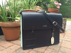 Leather Laptop Bag / Book Bag by KaleiderDesign on Etsy