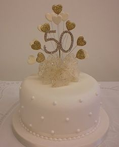 CAKE DECORATION GOLDEN 50th WEDDING ANNIVERSARY DIAMANTE .