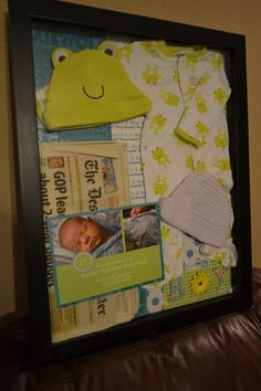 Baby keepsake shadowbox.