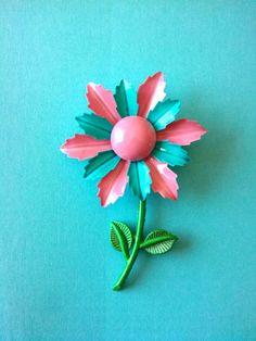 Vintage Turquoise Pink Enamel Flower Power Pin Brooch | eBay