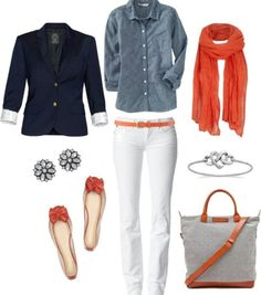 Denim coral and navy