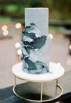 Wedding cake in shades of blue and green
