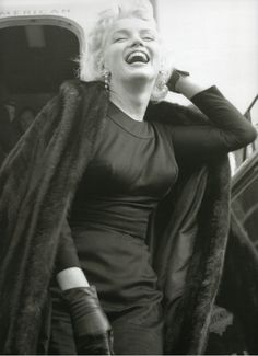 Marilyn arriving in Phoenix, Arizona to film Bus Stop. Photo by Milton Greene, 1956.