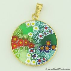 Millefiori venetian glass jewelry just my style pinterest medium millefiori pendant in gold plated frame 23mm venetian glassmurano mozeypictures Choice Image