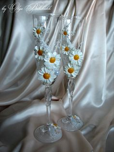 """Two hand decorated wedding champagne glasses """"Daisy wheel"""". $40.00, via Etsy."""