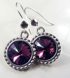 Swarovski Amethyst Purple Earrings Sterling Silver by NataliaKh, $24.77