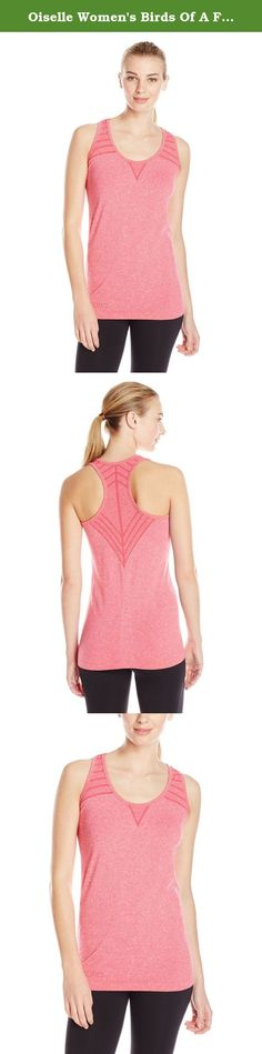 Oiselle Women's Birds Of A Feather Tank Top, Punch, Large. The beautiful heathering on this tank is unlike any other! Its seamless construction and graphic detailing is what makes an extremely soft fabric that's perfect for any activity. The Birds of a Feather Tank is flattering on all shapes because it never clings.