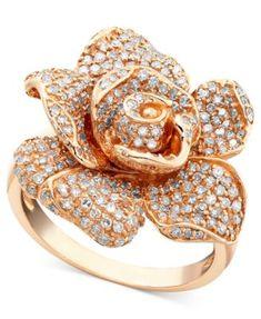 Pave Rose by EFFY Diamond Diamond ct.) in Rose Gold - Diamond Rings - Jewelry & Watches - Macy's Gold Jewelry, Jewelry Rings, Jewelery, Jewelry Accessories, Fine Jewelry, Jewelry Watches, Diamond Jewelry, Jewellery Box, Effy Jewelry