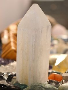 Place a Selenite Tower at each corner of your space to create an energetic shield for a peaceful, safe and protected environment. #selenite
