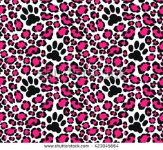 Leopard skin seamless pattern. Vector illustration with cat paw print. Jaguar print for wallpaper, clothes wrapping, fabric, paper, cover, textile, design, background. Pink color