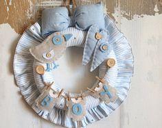 Baby Boy Birth Wreath, Hospital Door Hanger & Decoration, Birth Announcement, Baby Door Wreath,Baby Wreath //FREE 2-day DELIVERY WORLDWIDE//