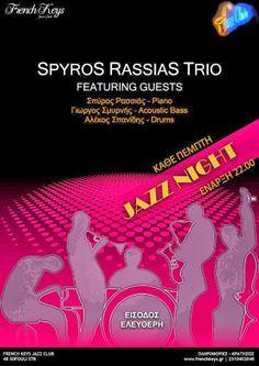 Σκέψεις: JAZZ/French Keys/Spyros Rassias Trio Jazz Club, Acoustic, Keys, French, Places, Movie Posters, French People, Key, Film Poster
