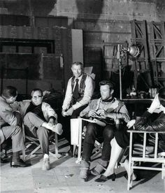 Sergio Leone, Lee Van Cleef and Clint Eastwood on the set of For A Few Dollars More.