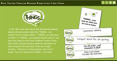The Game of THINGS. The Game Of THINGS. is a hilarious party game where everyone writes responses to a topic card, then you guess who said what. See our website for more info. Synchronized Swimming, Show Video, Who Said, Say What, Out Loud, Party Games, To Tell, Retirement, Dates
