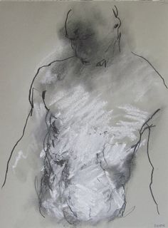 gesture figure drawing - from life - Drawing 61 - graphite and pastel on grey paper - original drawing