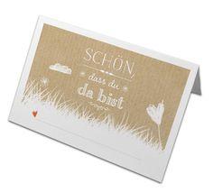 Tischkarten - 50 Tischkarten - Schön, dass du da bist BEIGE CHIC - ein Designerstück von Eine-der-Guten-Illustration bei DaWanda