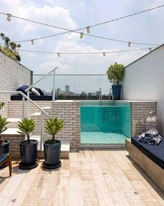 What about a small pool on the rooftop terrace? What about a small pool on the rooftop terrace? Small Backyard Pools, Backyard Pool Designs, Rooftop Terrace Design, Small Terrace, Rooftop Patio, Kleiner Pool Design, Small Pool Design, Design Exterior, Scandinavian Style