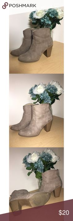Express Ankle Booties 👢 These booties are PERFCT for the upcoming fall weather! 🍁🍂 The heels on these gorgeous booties are about 3.5-4 inches tall, so they could be difficult to walk in unless you are used to walking in this size heels. There is no platform on the bottom. These boots pair great with a large sweaters, jeans, and a blanket scarf! Feel free to make me an offer! 💓 Express Shoes Ankle Boots & Booties