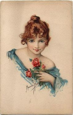 head & shoulders study of girl in blue, red hair, left hand holds red roses to chest