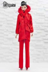 Red atlas hooded parka with full lining and pockets for Fashion royalty FR2 and similar body size dolls