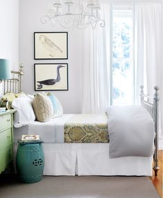 Gray, Teal and Light Green Bedroom with nickel-plated bed; walls are Farrow & Ball Cornforth White - Design by Neil Asselin, Photo by Donna Griffith in Style At Home March 2009 http://www.styleathome.com/homes/interiors/floorplans-uptown-country/a/20080