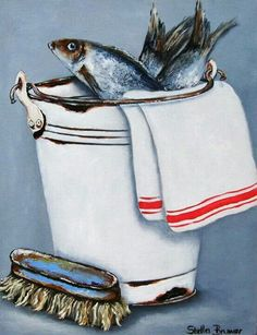 fish- Stella Bruwer 541 x 699 Frog Art, South African Artists, Blue Beach, Still Life Art, Kitchen Art, Kitchen Shop, Seascape Paintings, Art Plastique, Pretty Pictures