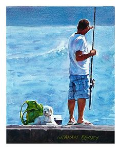 "Man and dog, fishing. by Graham Berry Watercolor ~ 10"" x 8.5"""
