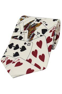 Soprano Playing Cards On White Ground Silk Tie www.ties-online.com/playing-cards-on-white-ground-silk-tie £18.95