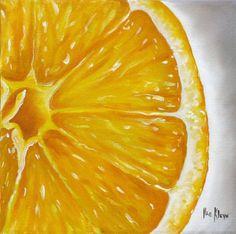 Citrus Painting Canvas Prints - Orange Canvas Print by Ilse Kleyn Orange Painting, Fruit Painting, Canvas Paintings For Sale, Acrylic Painting Canvas, Realistic Drawings, Colorful Drawings, Lemon Drawing, Close Up Art, Gcse Art Sketchbook