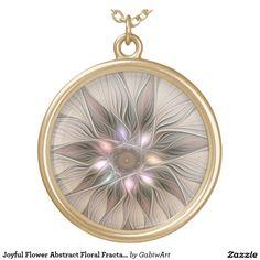 Joyful Flower Abstract Floral Fractal Art Round Pendant Necklace