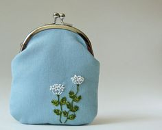 Kiss lock coin purse embroidered white flowers on dusty por oktak, $40.00