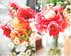 Poppies and posies bouquet. Love this look. Orange and Melon. Bright colors. || Jen Huang Photography, jenhuangblog.com