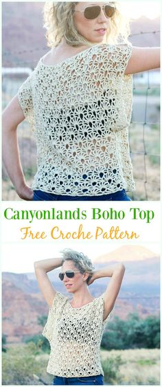 Crochet Canyonlands Boho Top Free Pattern -Crochet Summer Top Free Patterns