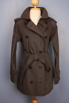 Womens BURBERRY Short TRENCH Coat Mac Brown