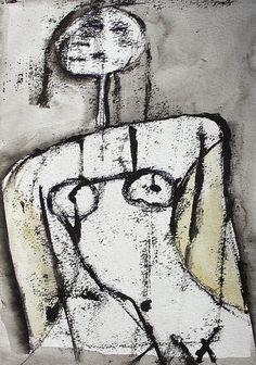 12 x 9 , oil transfer , acrylic on paper. Painting People, Figure Painting, Figure Drawing, Painting & Drawing, Bird Painting Acrylic, Art Corner, Aboriginal Art, Outsider Art, Gravure