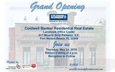 You are invited! In two weeks Thursday at - Grand Opening & Ribbon Cutting by the Greater Fort Walton Beach Chamber of Commerce welcoming Coldwell Banker Residential Real Estate to the Landmark Office Center located Downtown Fort Walton Beach, Florida Fort Walton Beach, Residential Real Estate, Chamber Of Commerce, You Are Invited, Parks And Recreation, Grand Opening, Places To See, Thursday, Florida
